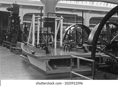 DEARBORN, DETROIT – SEPTEMBER 4, 1979: ancient steam engines. Vintage picture taken in 1979.