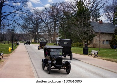 Dearborn, MI / USA - 04.21.2018 : driving Ford t models on the street in the greenfield village