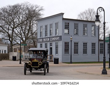 Dearborn, MI / USA - 04.21.2018 : Ford t model in the greenfield village before the first old original rebuilt Ford Motor Company
