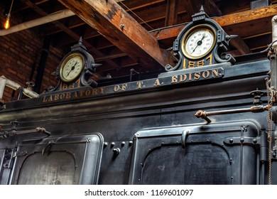 Dearborn, MI / USA - 04.21.2018 : Old Edison Machine Works original Laboratory of J. A. Edison close up