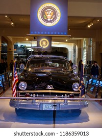 Dearborn, MI / USA - 04.22.2018: Eisenhower's US presidential 1950 lincoln car
