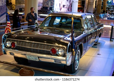 Dearborn, MI / USA - 04.22.2018: Kennedy's US presidential Lincoln car used from 1961 - 1977 on a tragic event