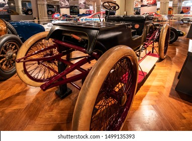 Dearborn, Mi, Usa - March 2019: The 1901 Ford sweepstakes an oval track racing car presented in the Henry Ford Museum of American Innovation.