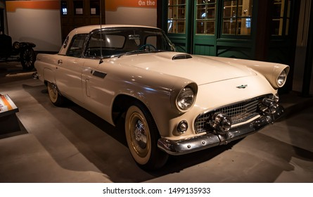 Dearborn, Mi, Usa - March 2019: Ford Thunderbird Convertible car presented in the Henry Ford Museum of American Innovation.