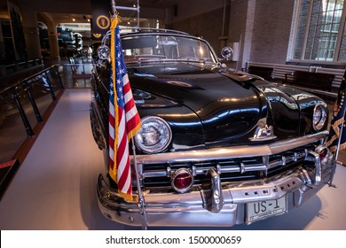Dearborn, Mi, Usa - March 2019: Dwight D. Eisenhower Bubble Top 1950 Lincoln presidential car presented in the Henry Ford Museum of American Innovation.