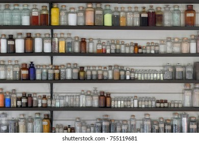 DEARBORN, MICHIGAN, USA -  NOVEMBER 3: Laboratory jars line the shelves of a chemistry laboratory on November 3, 2017 in Dearborn, Michigan