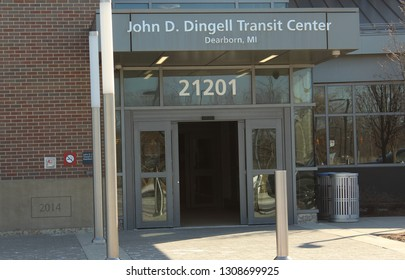 Dearborn, MI/USA: Feb 9, 2019 – Entry to Amtrak transit station in Dearborn MI named after honorable John D Dingell, Jr., longest serving representative in the U.S. Congress House of Representatives.