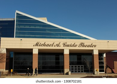 Dearborn, MI/USA: Feb 9, 2019 –Visitors enter Performing Arts theater in Dearborn MI named after late Dearborn mayor. Site of funeral visitation for honorable Representative John D Dingell, Jr.