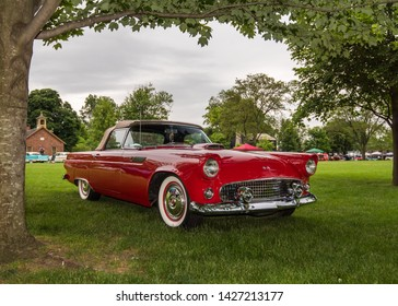DEARBORN, MI/USA - JUNE 15, 2019: A 1955 Ford Thunderbird car at the The Henry Ford (THF) Motor Muster car show, held at Greenfield Village, near Detroit, Michigan.