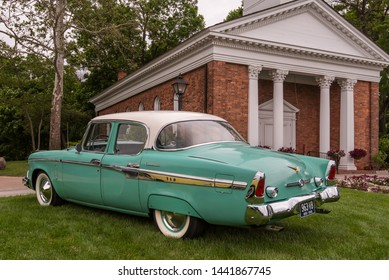 DEARBORN, MI/USA - JUNE 15, 2019: A 1955 Studebaker Commander car at the The Henry Ford (THF) Motor Muster car show, held at Greenfield Village, near Detroit, Michigan.