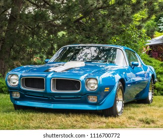 DEARBORN, MI/USA - JUNE 16, 2018: A 1970 Pontiac Firebird Trans Am car at the The Henry Ford (THF) Motor Muster car show, held at Greenfield Village, near Detroit, Michigan.