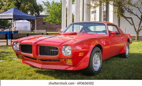 DEARBORN, MI/USA - JUNE 17, 2017: A 1973 Pontiac Firebird TransAm Super Duty (SD) car at The Henry Ford (THF) Motor Muster car show, held at Greenfield Village, near Detroit, Michigan.