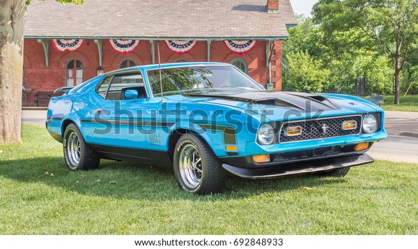 DEARBORN, MI/USA - JUNE 17, 2017: A 1971 Ford Mustang Mach 1 car with Ram Air at The Henry Ford (THF) Motor Muster car show, held at Greenfield Village, near Detroit, Michigan.