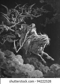 Death. 1) Le Sainte Bible: Traduction nouvelle selon la Vulgate par Mm. J.-J. Bourasse et P. Janvier. Tours: Alfred Mame et Fils. 2) 1866 3) France 4) Gustave Doré