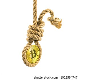 Death bitcoin. Coin bitcoin in the gallows on a white background. Isolated.