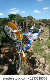 A death defying stunt over a deep gorge.