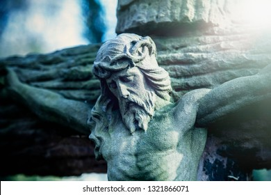 Death does not exist concept. Antique statue of death and resurrection of Jesus of Nazareth - Jesus Christ as a symbol of human soul eternal life.