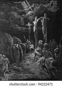The death of Jesus. 1) Le Sainte Bible: Traduction nouvelle selon la Vulgate par Mm. J.-J. Bourasse et P. Janvier. Tours: Alfred Mame et Fils. 2) 1866 3) France 4) Gustave Doré
