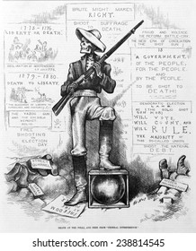 Death at the polls, and free from 'federal interference'. Skeleton 'solid Southern shot gun' holding shotgun at polls, to prevent African Americans from voting. Thomas Nast, artist. Woodcut, 1868