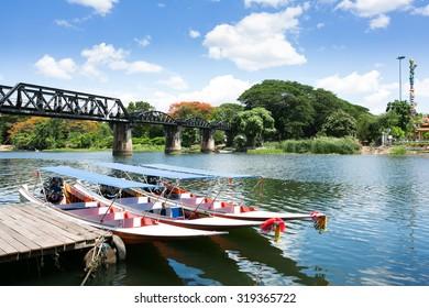 The death railway bridge at Kanchanaburi, Thailand. It is the historic of world war ii, the death railway bridge over river.