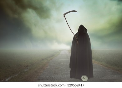 Death with scythe waiting on in a surreal landscape. Halloween and horror