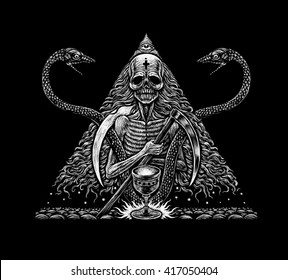 Death and snakes. Mystical graphic illustration on the black background