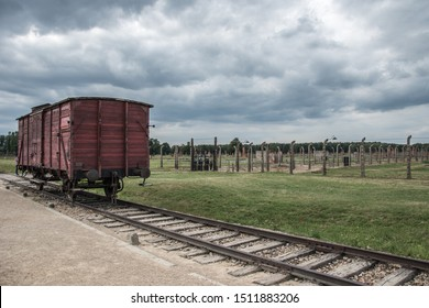 Death train in Nazi concentration and extermination camp Auschwitz II-Birkenau, Brzezinka