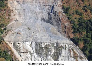 The Death Trekking Route in Nepal - Trekkers Walking on the most dangerous Landslide road in Dhaulagiri Region Myagdi  Nepal