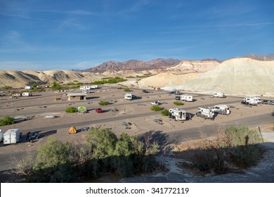 Death Valley, Arizona - April 1st 2014 - Big number of cars ands Rvs camping in the state camping of the Death Valley National Park in Arizona, USA.