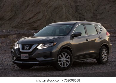 Death Valley, California - November 2, 2017: View of a grey 2017 Nissan Rogue in the desert.