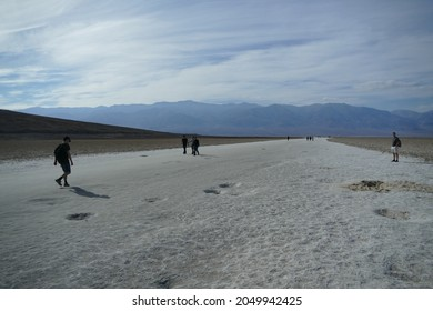 Death Valley, California, United States - November 3 2017: Badwater Basin, lowest point in North America with depth of 282 ft86m below sea level, popular tourist place