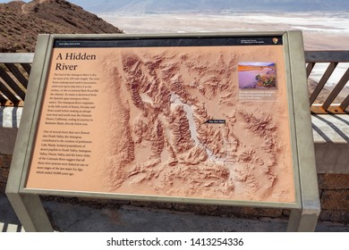 DEATH VALLEY, CALIFORNIA, USA - April 4, 2019: Information board on Dante's View in Death Valley National Park. California, USA