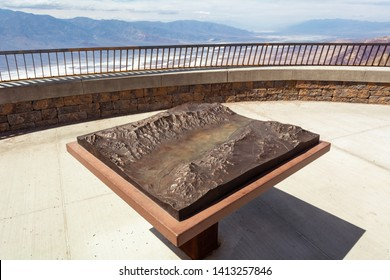 DEATH VALLEY, CALIFORNIA, USA - April 4, 2019: Model of Badwater Basin and mountains on Dante's View terrace. California, USA