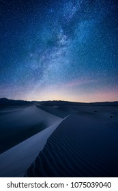 Death Valley Mesquite Dunes at night under the the Milky Way