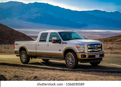 Death Valley National Park, CA, USA - March 9, 2018: The F350 Ford tackling the sand dunes of the preserve park