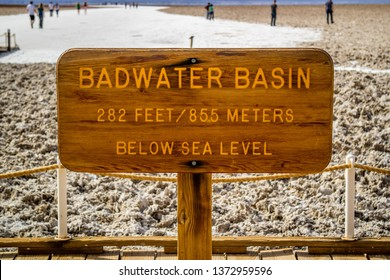 Death Valley National Park, CA, USA - March 9, 2018: Badwater Basin below sea level guideline