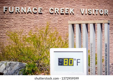 Death Valley National Park, CA, USA - March 9, 2018: The Furnace Creek Visitor Center temperature guideline