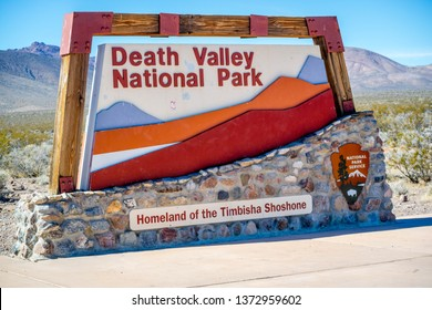 Death Valley National Park, CA, USA - March 9, 2018: A welcoming signboard at the entry point of preserve park