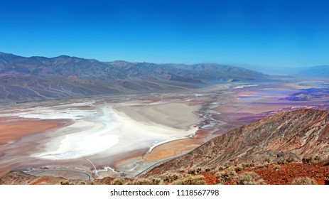 Death Valley National Park, Dante's view point - the view on the dry Badwater basin, lowest place in the world, minus 86 metres under sea level