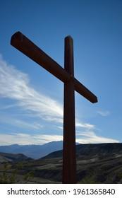 Death Valley Scotty's grave cross, Scotty's Castle,  Death Valley, California, USA