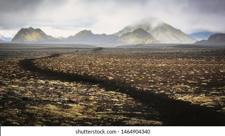 Deathly black volcanic landscape on the Laugavegur trail in Iceland
