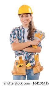 deautiful female worker isolated on white