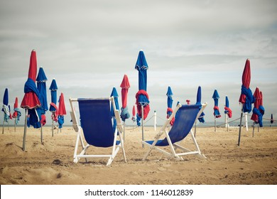 Deauville beach in Normandy, France.