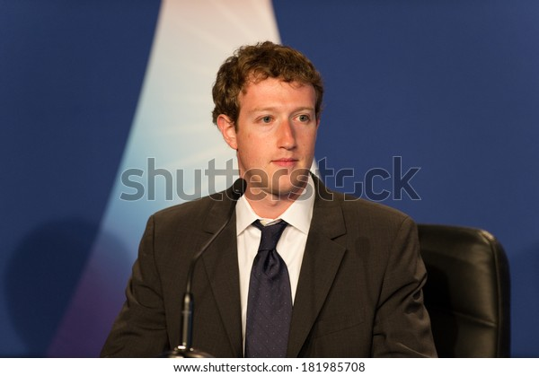 DEAUVILLE, FRANCE - MAY 26, 2011 : Facebook CEO Mark Zuckerberg Press conference at the summit G8/G20 about new technologies  - Deauville, France on May 26 2011