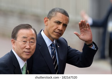 DEAUVILLE, FRANCE - MAY 27, 2011 : President of United State Barack Obama and  Secretary-General of the United Nations Ban Ki-Moon at the summit G8/G20 - Deauville, France on May 27 2011