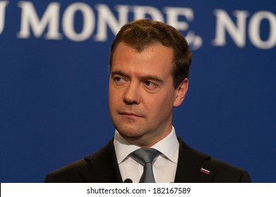 DEAUVILLE, FRANCE - MAY 27, 2011 : Dmitry Medvedev during a press conference at the summit G8/G20 - Deauville, France on May 27 2011