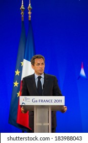 DEAUVILLE, FRANCE - MAY 27, 2011 : Nicolas Sarkozy during a press conference at the G8 summit - Deauville, France on May 27, 2011