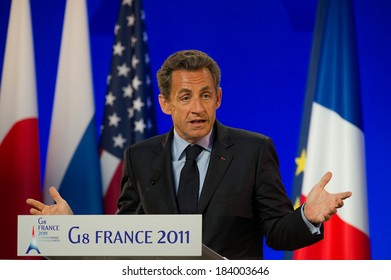 DEAUVILLE, FRANCE - MAY 27, 2011 : French President in press conference during G8 - Deauville, France on May 27 2011