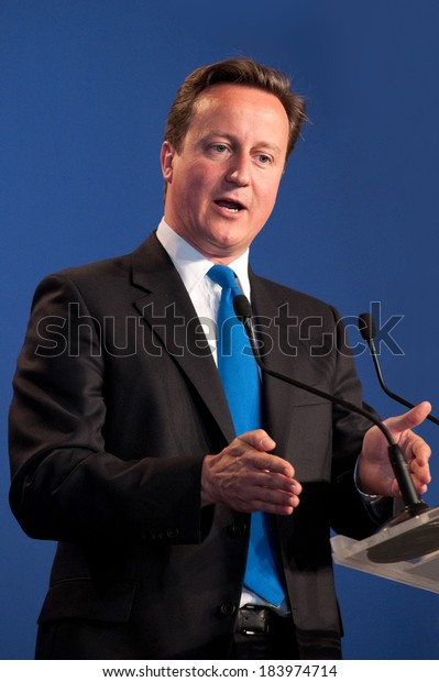 DEAUVILLE, FRANCE - MAY 27, 2011 : British Prime Minister David Cameron in press conference  during G8 - Deauville, France on May 27 2011