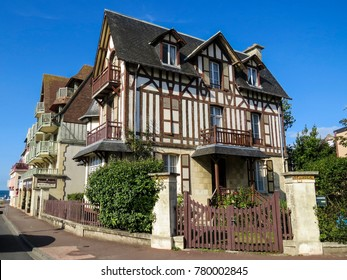 Deauville, Normandy, France - 6 August 2014:   Typical architectural Building. With its race course, harbour, international film festival, marinas, conference centre, villas